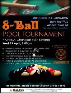 Pool Tournament Poster Doubles With Jaeger 15Apr17