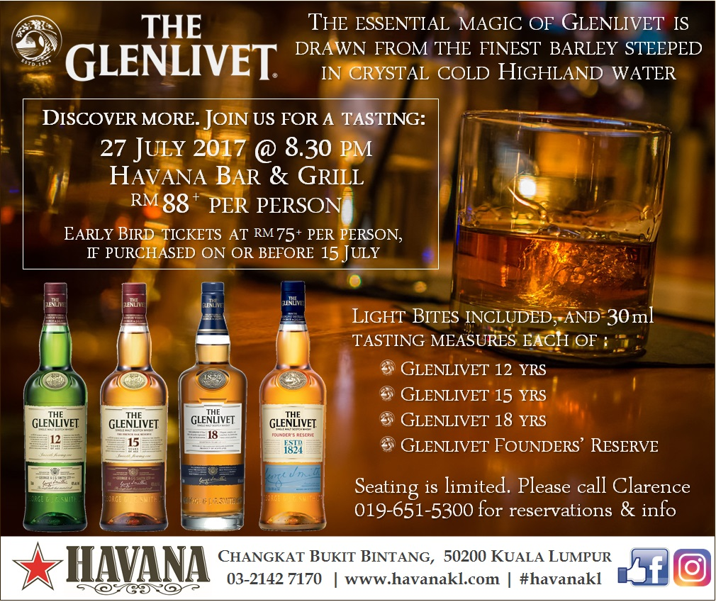 Glenlivet Whiskey Tasting eInvite with Early Bird July17